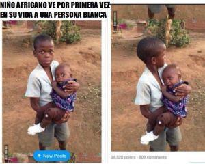 niño africano ve por primera vez a una persona blanca