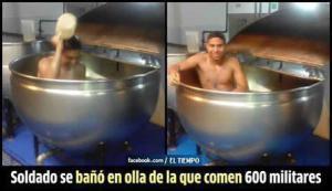soldado se baño en olla donde comen 600 militares